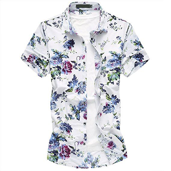 3bd269ea5cdb WEEN CHARM Men s Floral Printed Hawaiian Button Down Shirt Tropical Shirt  Slim Fit at Amazon Men s Clothing store