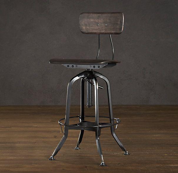 restoration hardware vintage toledo chair distressed black industrial steel  with black-finished wood seat - Restoration Hardware Vintage Toledo Chair Distressed Black