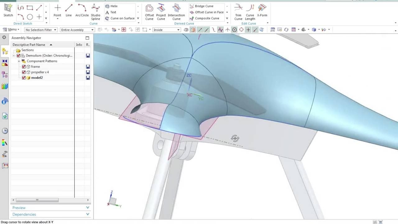 Nx 10 Surface Modeling Of A Drone Surface Modeling Engineering