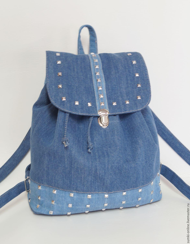 3d530cd40f40 Купить Джинсовый рюкзак с заклепками - синий, рюкзак, джинсовый рюкзак,  рюкзак с заклепками, рюкзак из ткани