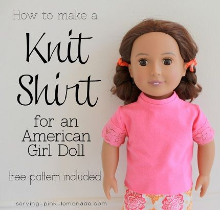 Free pattern: Short-sleeved t-shirt for an 18″ doll   Pattern shorts ...
