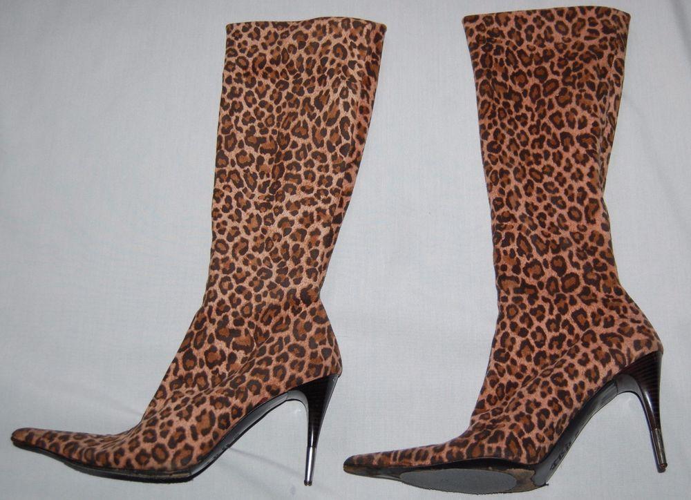244c78a966015a Vero Cuoio Women s Stiletto Boots. Leopard Print Calf Hair. Silver tip  heel.