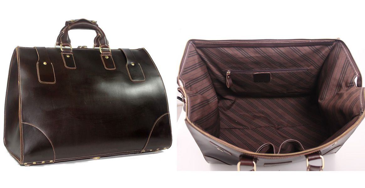 Vintage Handmade Superior Leather Travel Bag   Leather Luggage   Overnight  Bag   Tote   Duffle Bag - n91 - Thumbnail 4 ef923a8c4fe1a