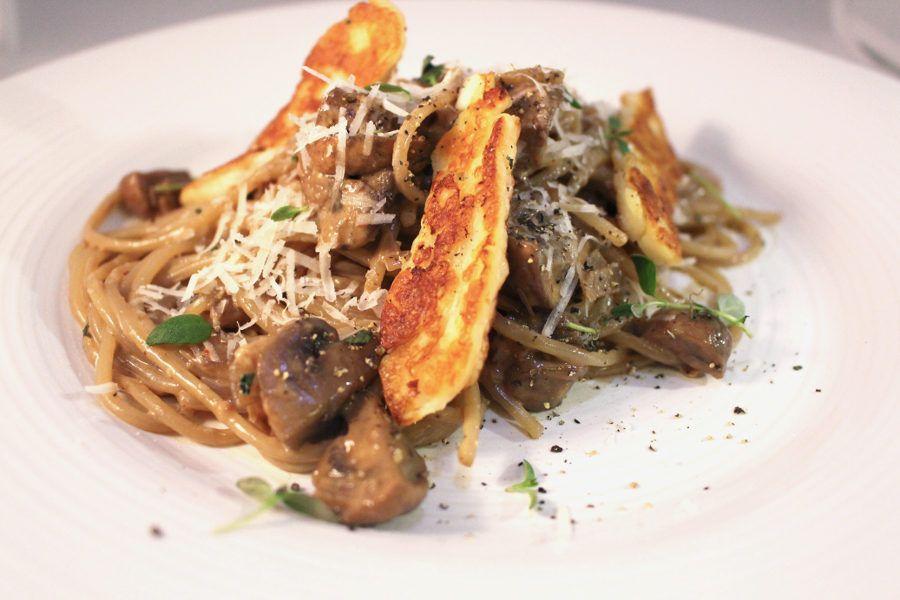 vegetarisk pasta champinjoner