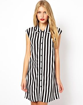 ASOS+Shirt+Dress+In+Stripe+With+Fold+Collar  044f06b00
