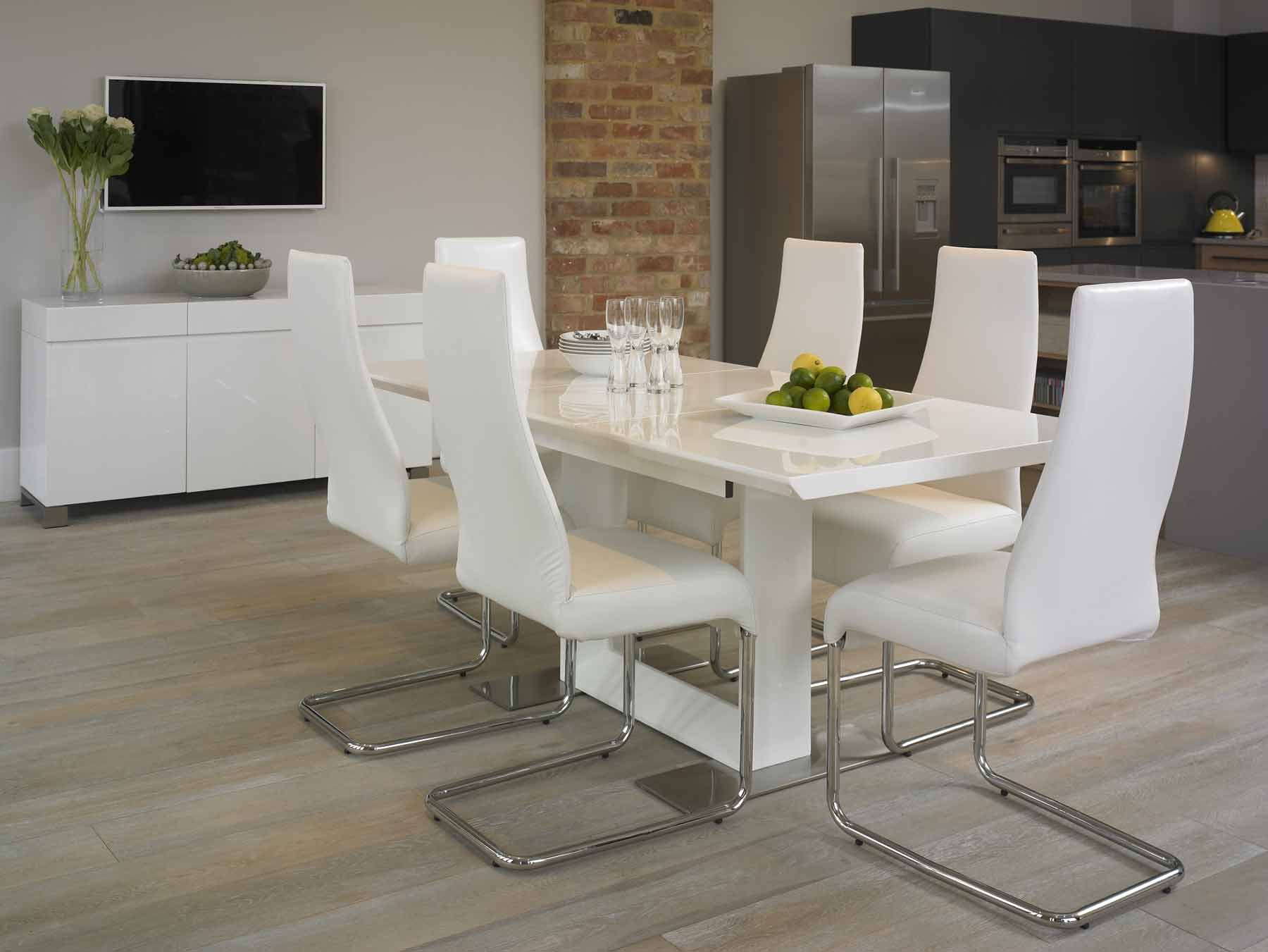 White Gloss Dining Table Harlequin White High Gloss X10664