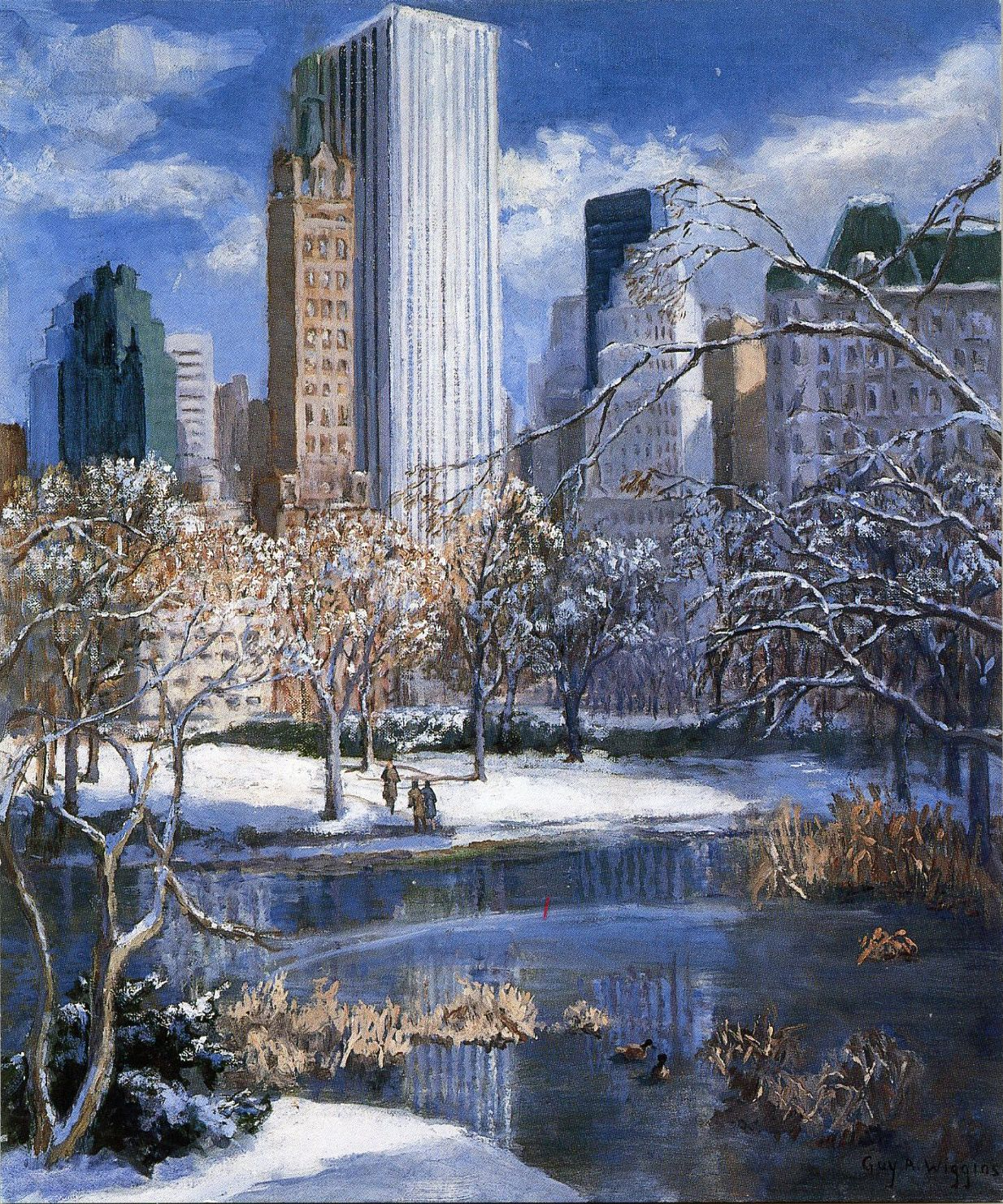 Cetral Park: Guy Arthur Wiggins, Central Park In Winter, Oil On Canvas
