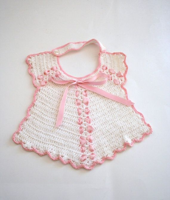 Vintage Crocheted Baby Bib White with Pink Ribbon and edge ...