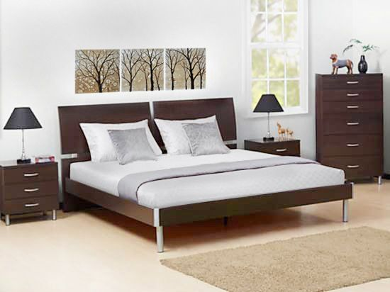 dania clean modern lines with a split headboard and low platform