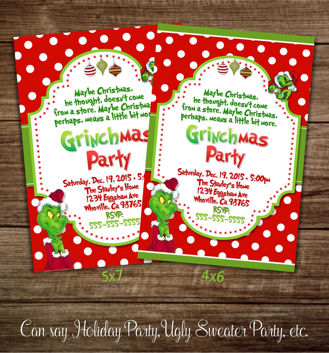 Christmas Party Invitations, Grinch Party Invitations, Christmas ...