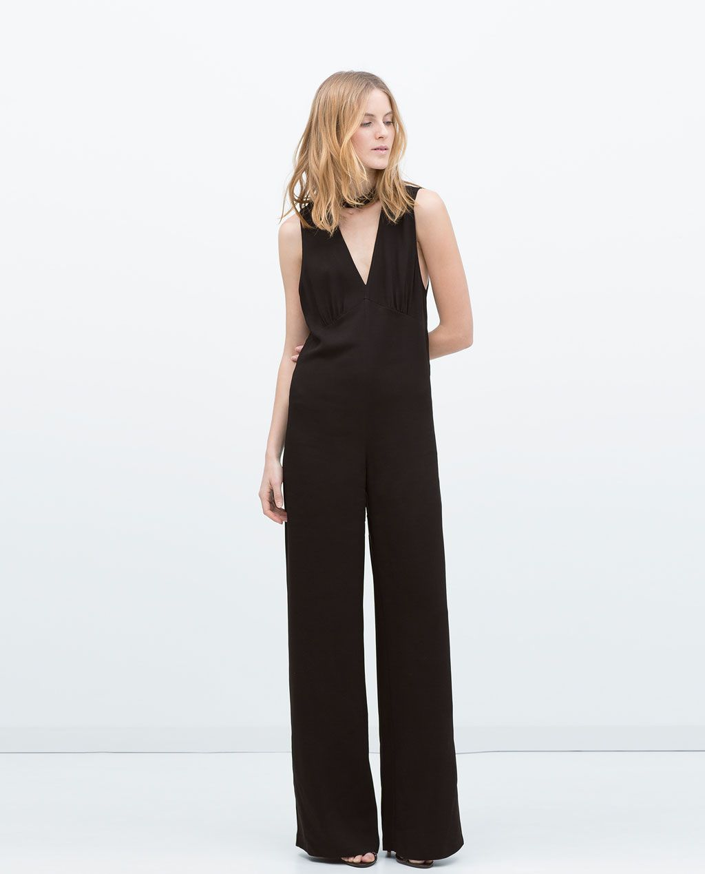 f6e05a31448 Image 1 of HIGH NECK COLLAR JUMPSUIT from Zara
