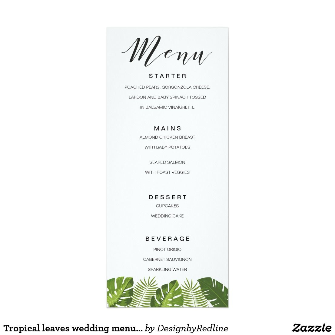 Tropical Leaves Wedding Menu Card Template  Tropical Wedding