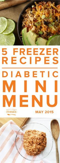 Diabetic Mini May 2015 - 5 recipes, 10 meals that are diabetic friendly (low carb) to make ahead and freeze. Perfect for spring and summer.