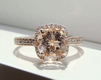halo morganite diamond ring gemstone engagement ring fine upgraded custom peach pink cushion round halo setting - Gemstone Wedding Rings