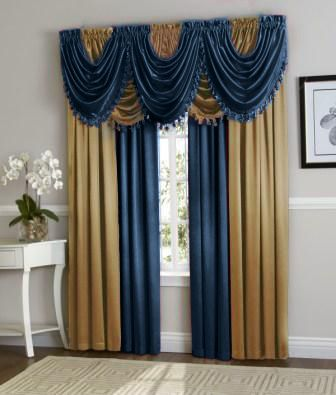 Hyatt Curtain Set Navy BlueGold In 2019 Curtains Window Drapes Curtain Sets