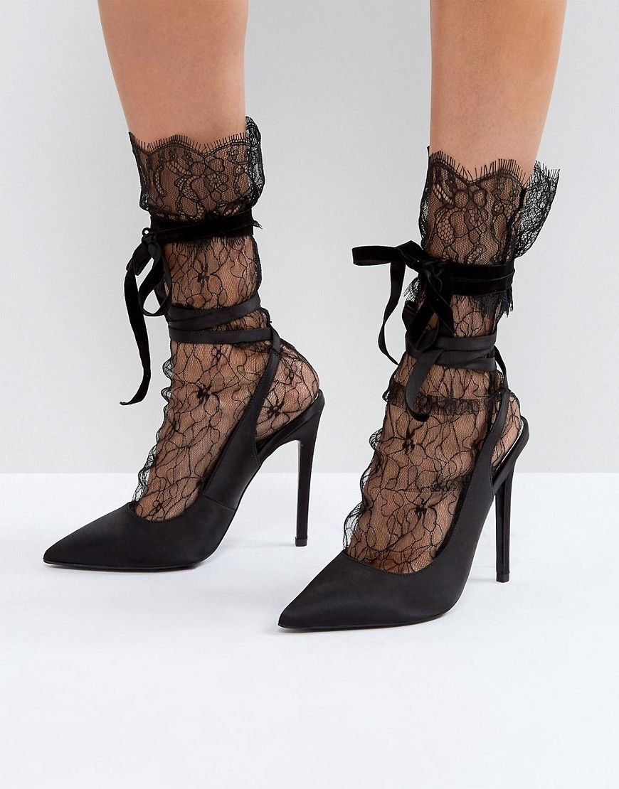Black lace heels with bow - photo#41