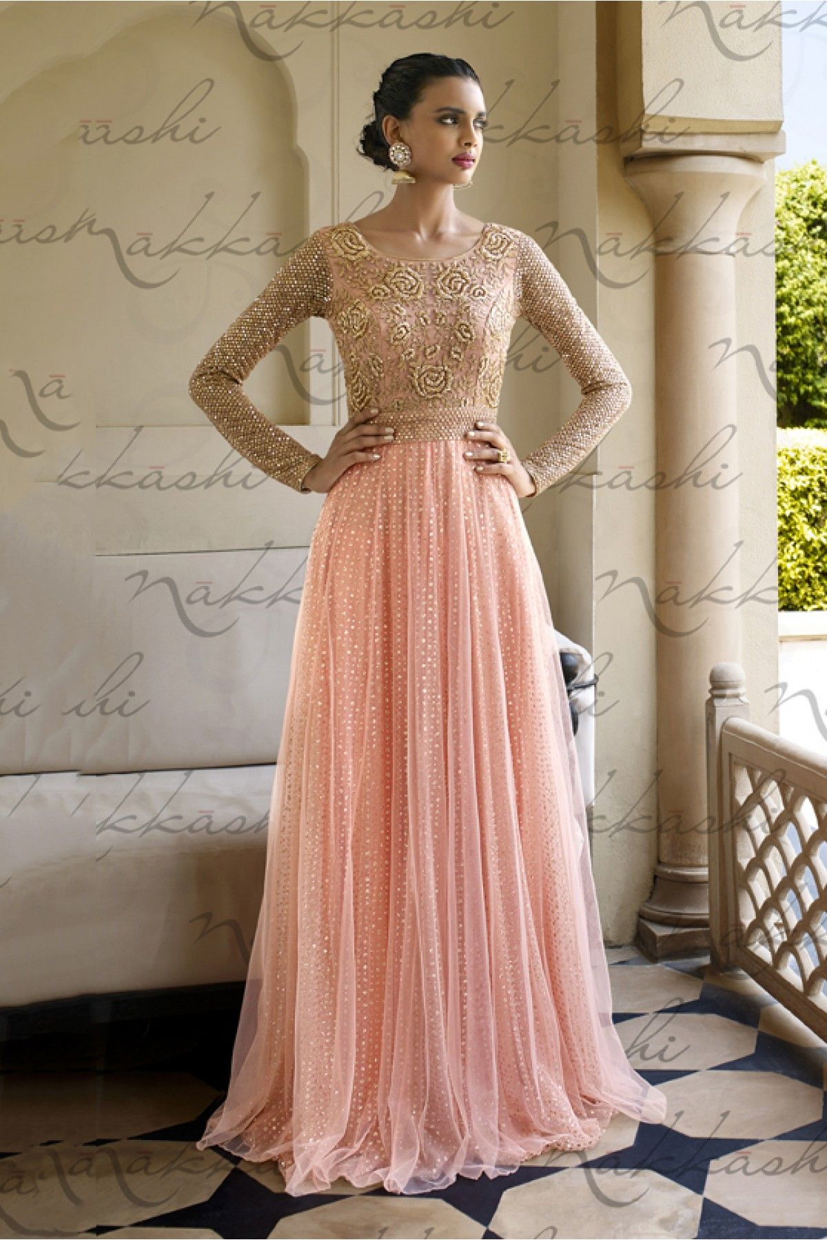 Nakkashi Mono Net and Santoon Designer Suit In Peach Colour ...