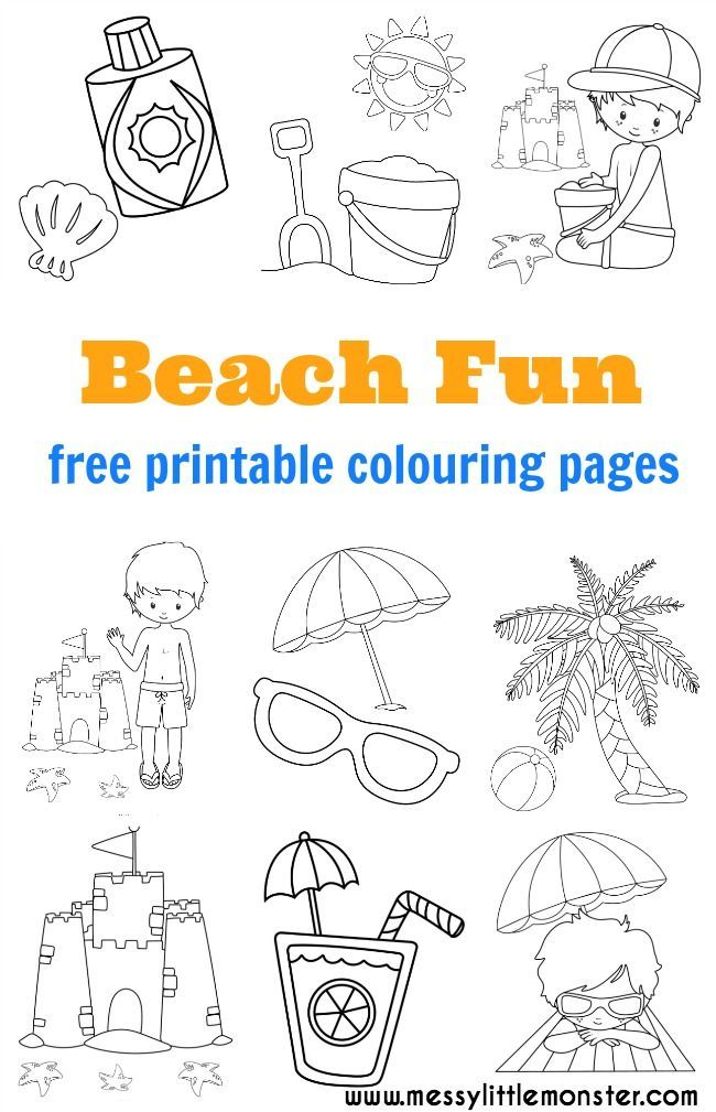 Beach Colouring Pages Free With Images Beach Coloring Pages