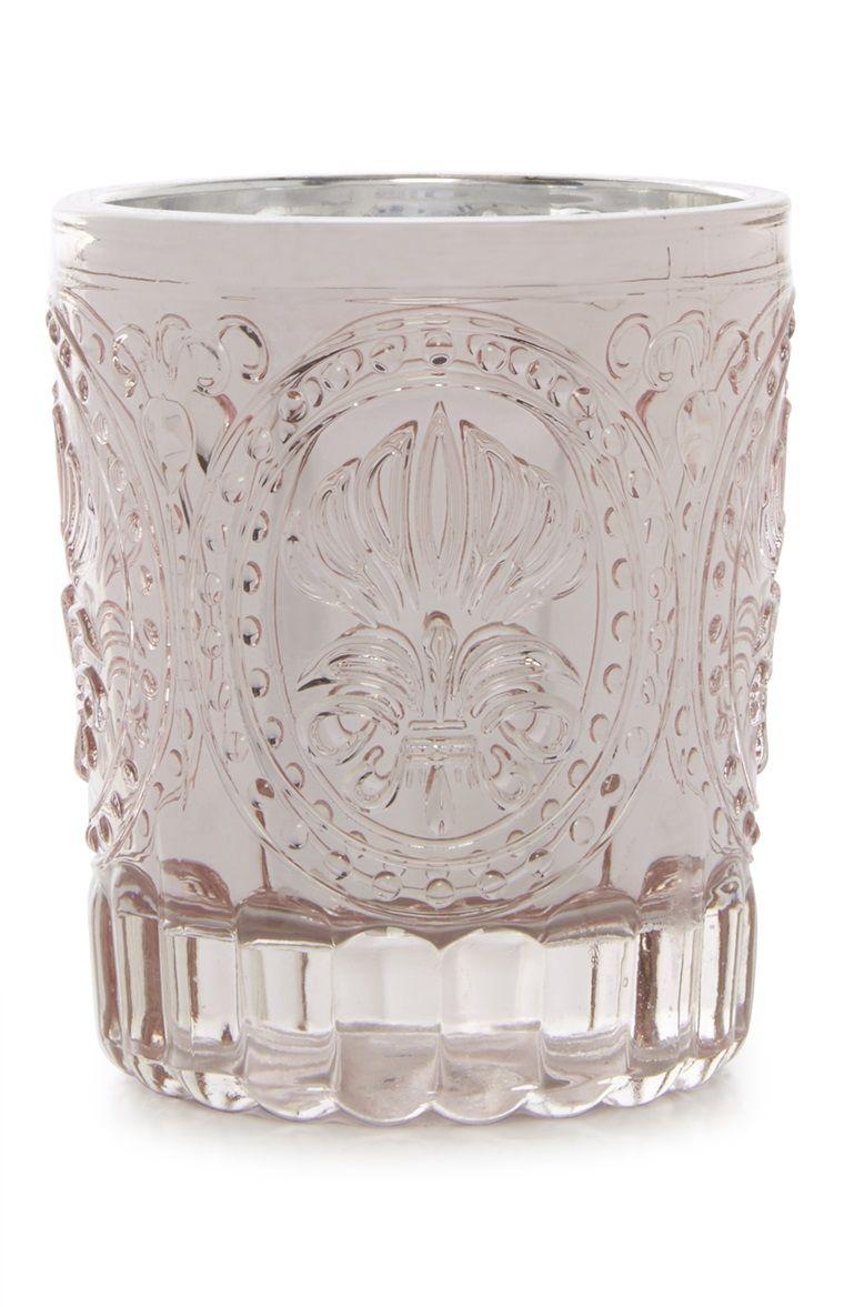 Primark pink glass votive candle holder home revamp