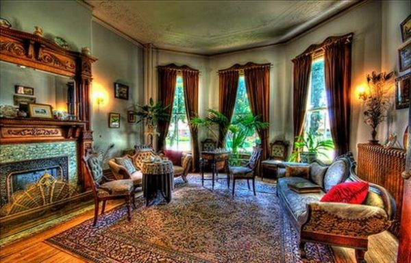 Interior Design, Victorian Style Home Interior Glamor Rooms Look Beautiful  Curtain Carpet Soft Long Chairs Picture Frame Plants Chairs Good .
