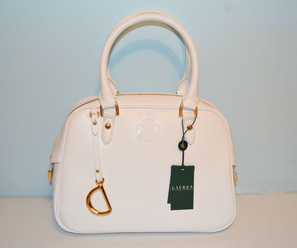 f3443f1156 Ralph Lauren Sloan Street Dome Satchel Handbag White Leather Purse-BNWT