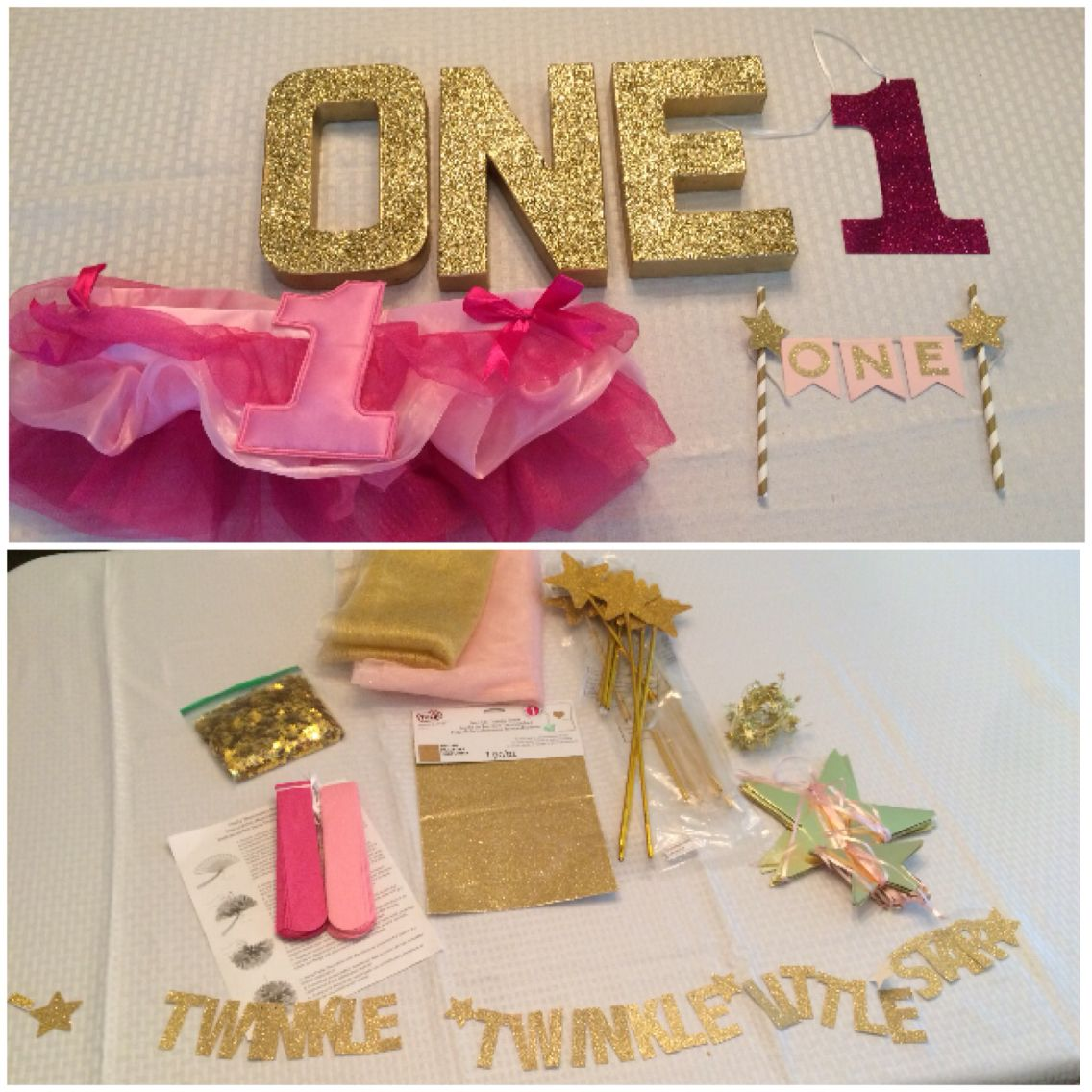 Pink and gold glitter twinkle twinkle little star decor