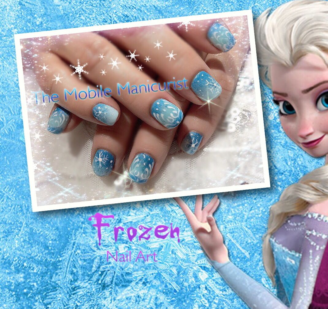 Frozen Nails, Nail Art, Winter Nail Designs, Elsa Nails, Little Girl Nail