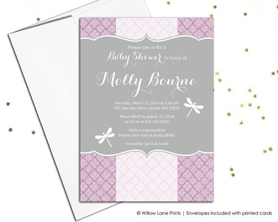 Dragonfly baby shower invitation for girls purple baby shower dragonfly baby shower invitation for girls purple baby shower invites printable or printed filmwisefo Images