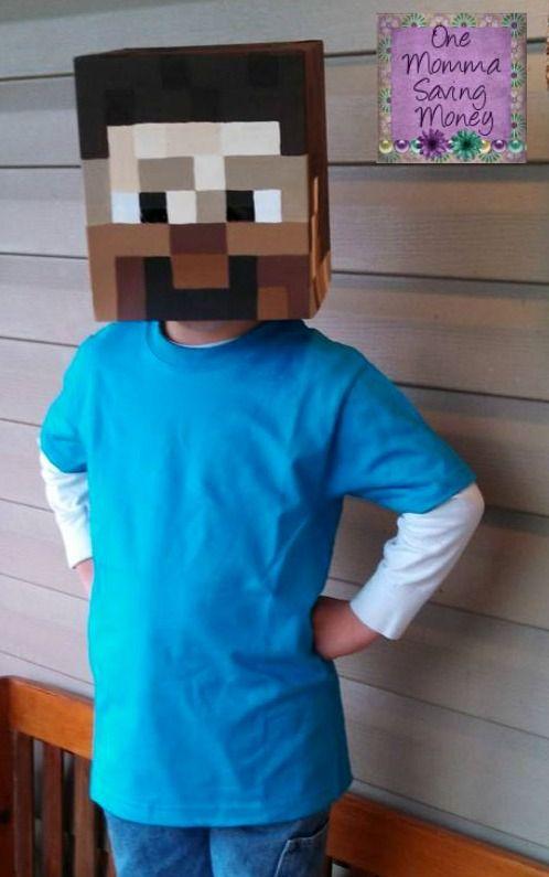 One Momma Saving Money #Homemade #Minecraft Steve Halloween Head - minecraft halloween costume ideas