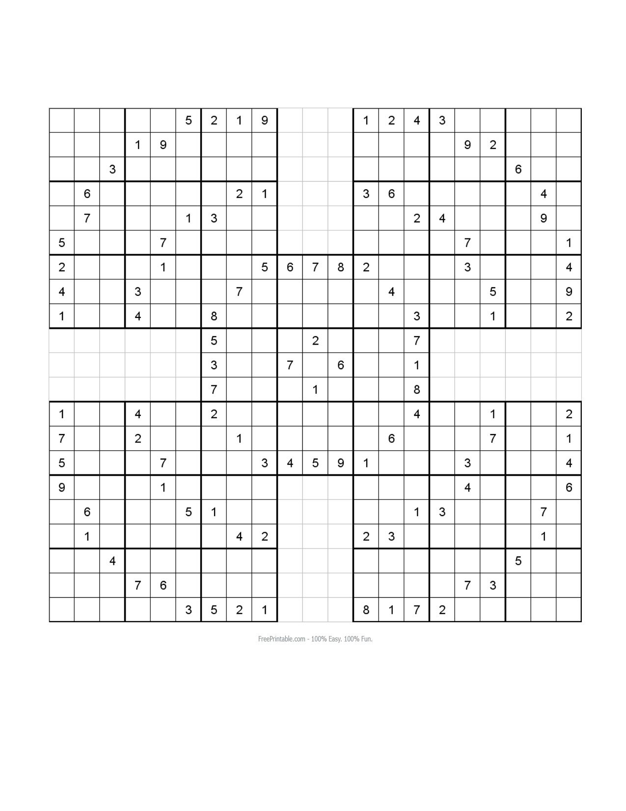 picture relating to Printable Samuri Sudoku identified as Cost-free Printable Samurai Sudoku Puzzles sudoku Sudoku