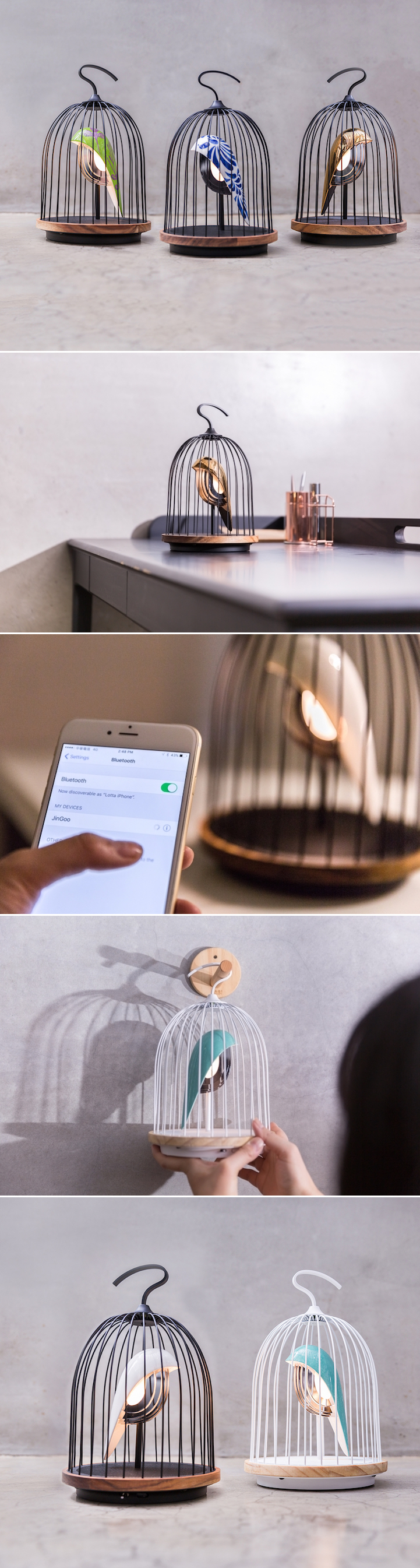 JinGoo is an elegant new speaker and light device that conceals its technical features by cleverly taking the form of a bird in a rounded wire cage.