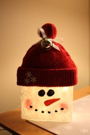 glass block crafts | Glass Block Snowman | Crafts:Glass Blocks More by debbie