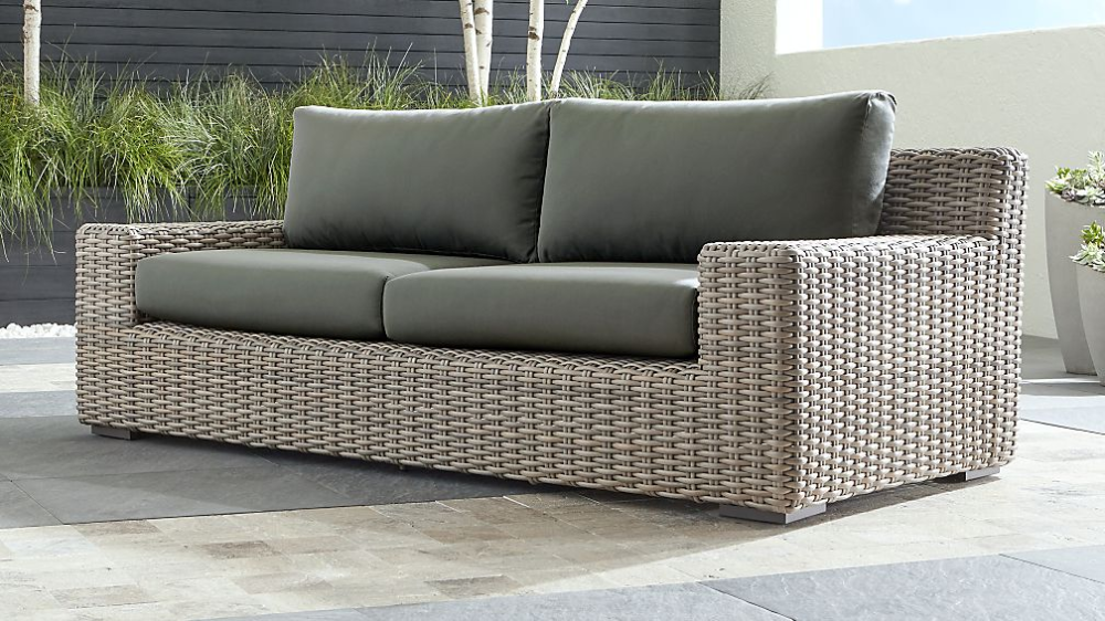 Caymen Outdoor Sofa with White Sunbrella Cushions