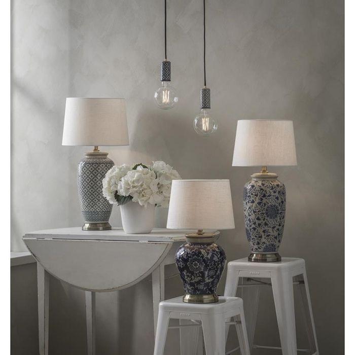 Ceramiczna Lampa Stołowa Feng 58cm Granatowa Skandynawskie Lampy