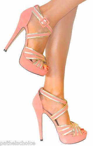 53ee0e78c3f8 Ladies coral gold strappy stiletto heels platform shoe sandal ...