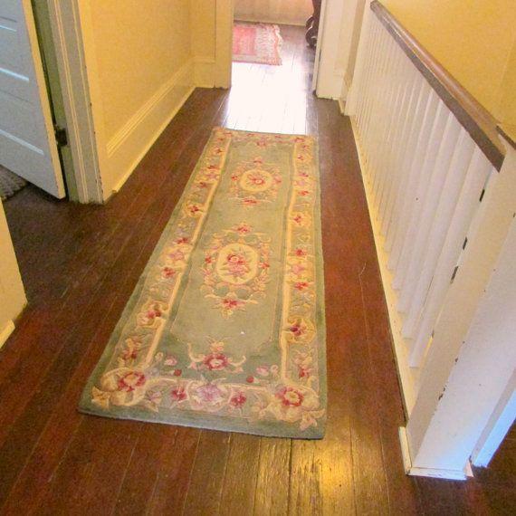 Vintage Hooked Floral Hallway Rug Runner Green Rose Carpet