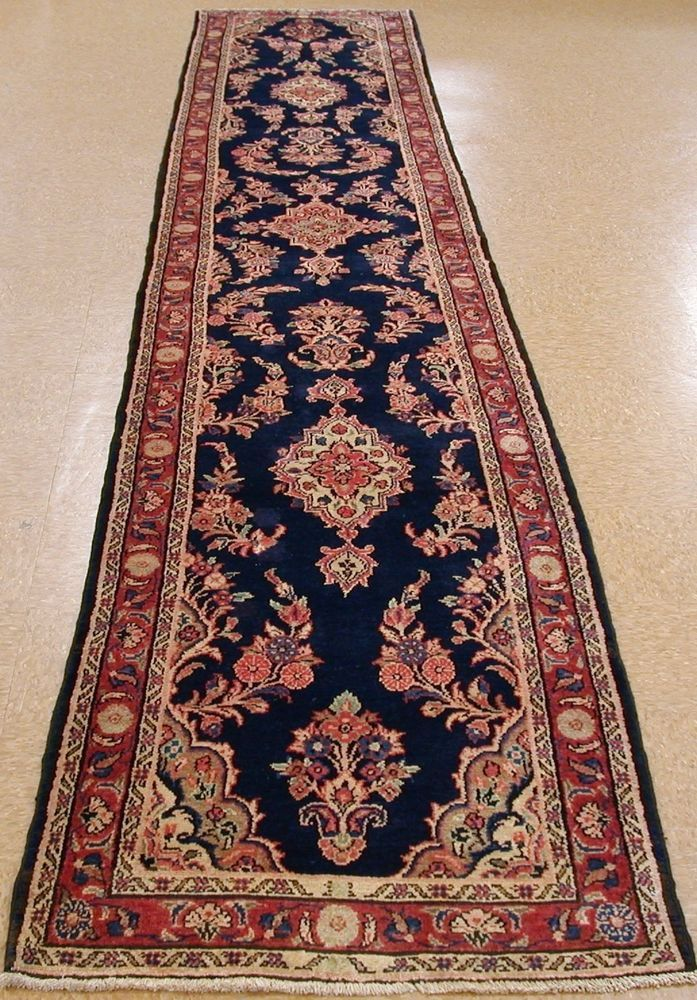 3 X 17 Persian Hamedan Tribal Hand Knotted Wool Navy Red Oriental