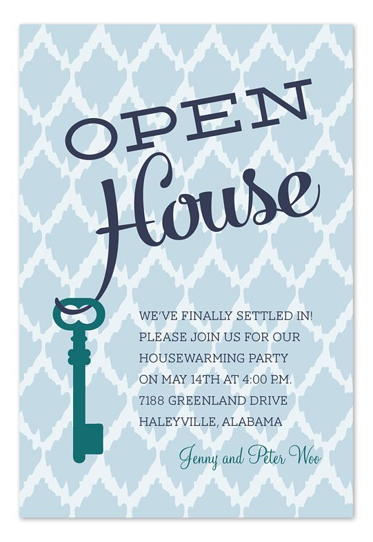 open house key moving announcement party invitation