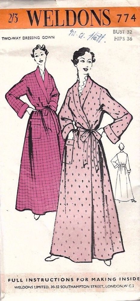 1950 s Vintage Sewing Pattern Women s Dressing Gown Robe Long Length Bust  32