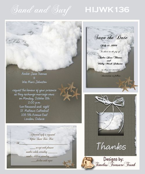 Sand And Surf Wedding Invitations Do It Yourself Templates
