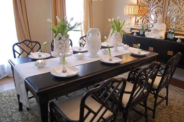 Suzie: Easter Tablescape With Eggs & Tulips Black Asian