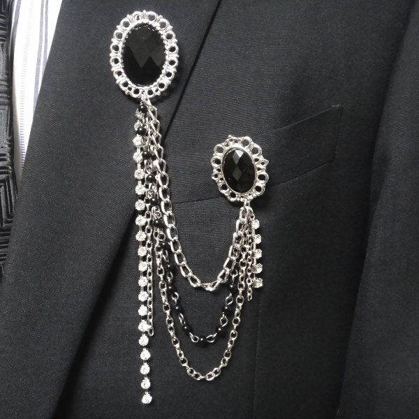 5389a606f17 Double lapel broach of the broach chain broach broach European design with  lapel pin men chain