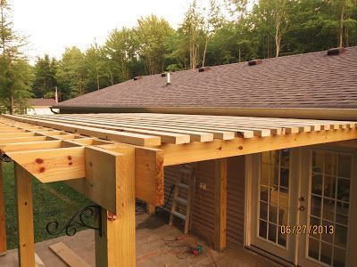 Pergola With Inset Beams And 2x4 Louvers Instead Of Lattice Board Sturdier And More Shade Diy Pergola Outdoor Pergola Pergola Plans
