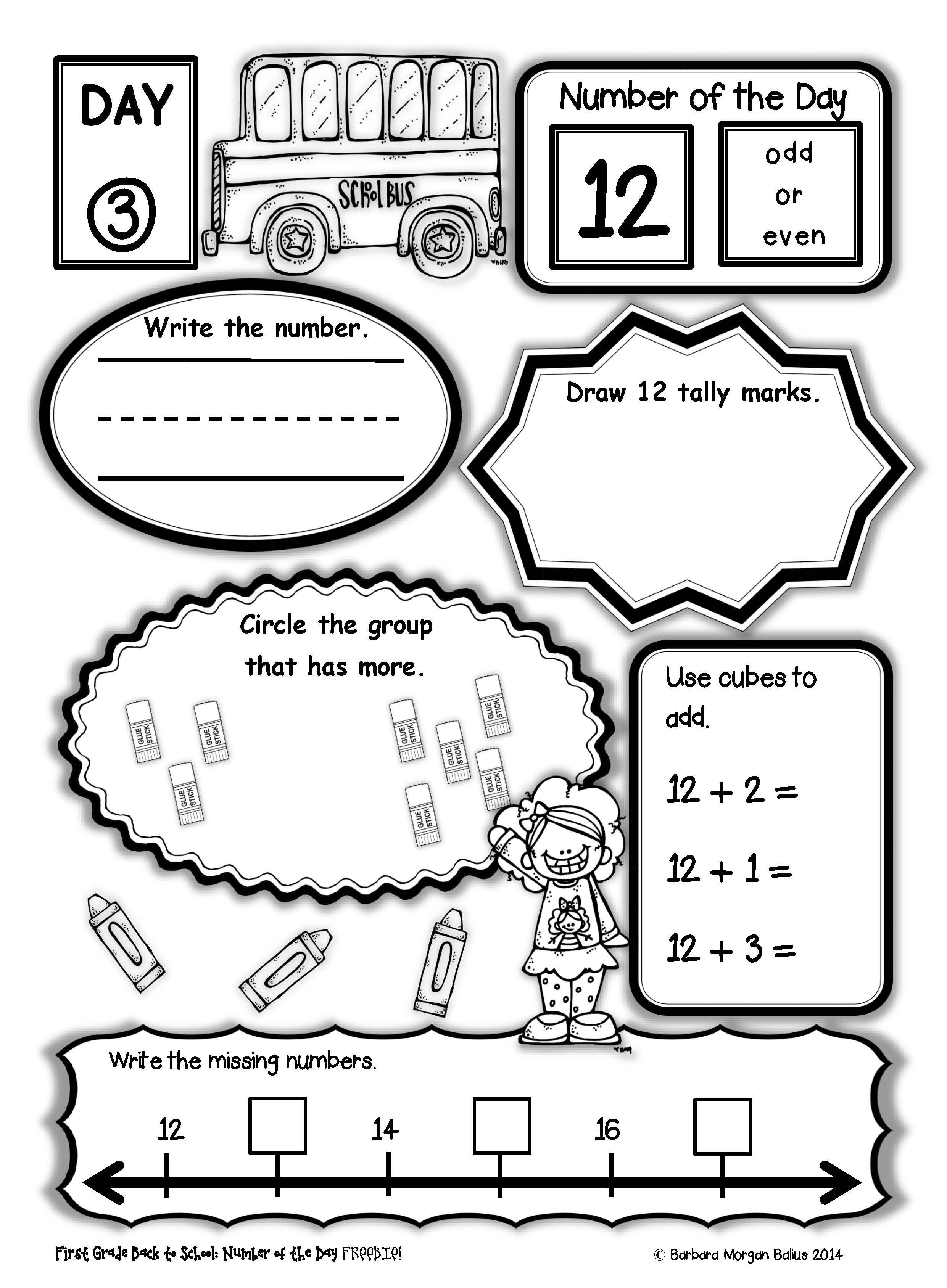 Freebie First Grade Number Of The Day Back To School Freebie This Unit Gives Your Students A L First Grade Math Schools First Common Core Math Kindergarten [ 3377 x 2482 Pixel ]