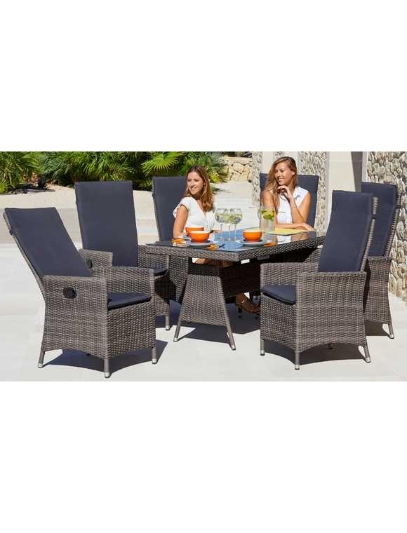 Gartenmobelset Ravello 13 Tlg 6 Sessel Tisch 150x80 Cm Polyrattan Grau Beige Rattan Gartenstuhle Gartenmobel Aussenmobel