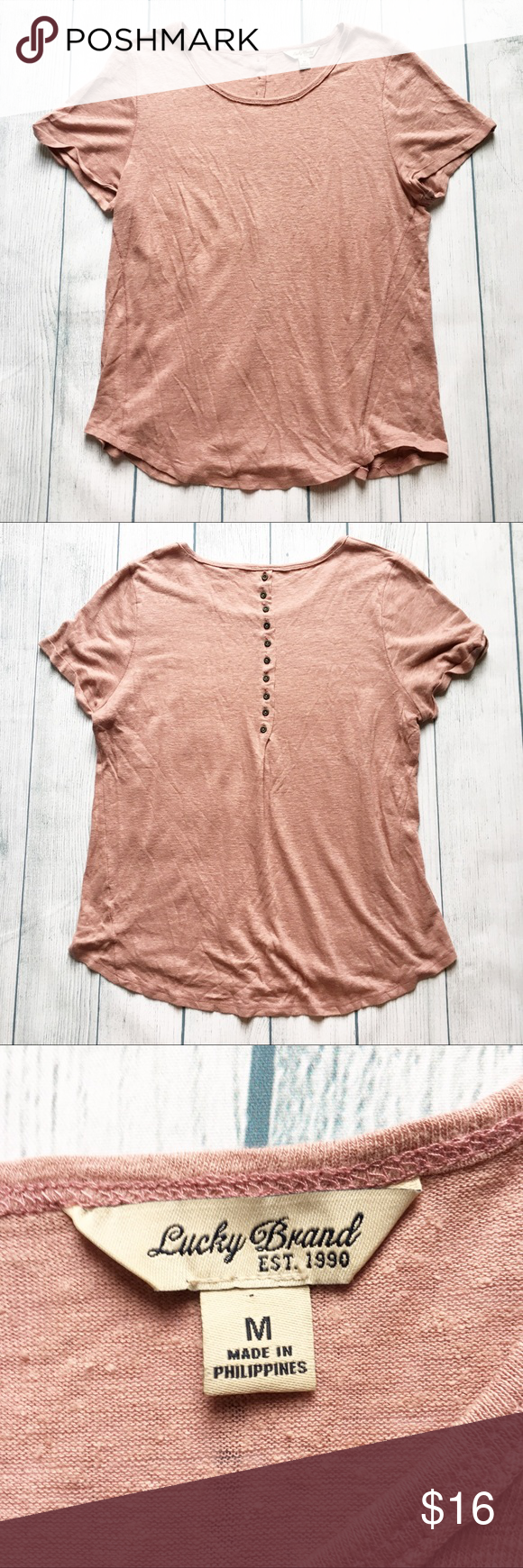80daec18 [Lucky Brand] Pink Short Sleeve Button Top Excellent pre-owned condition.  This