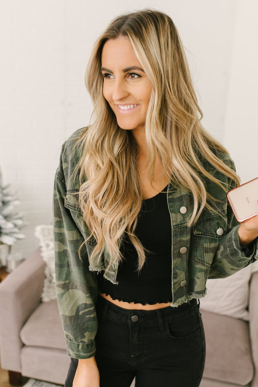 5e97c900e0d77 Frayed Camo Cropped Denim Jacket - Olive Multi - FINAL in 2019 | New ...