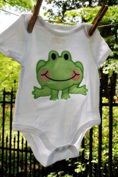 Frog Applique Infant Onesie   Applique Ideas - Animals   Pinterest ...
