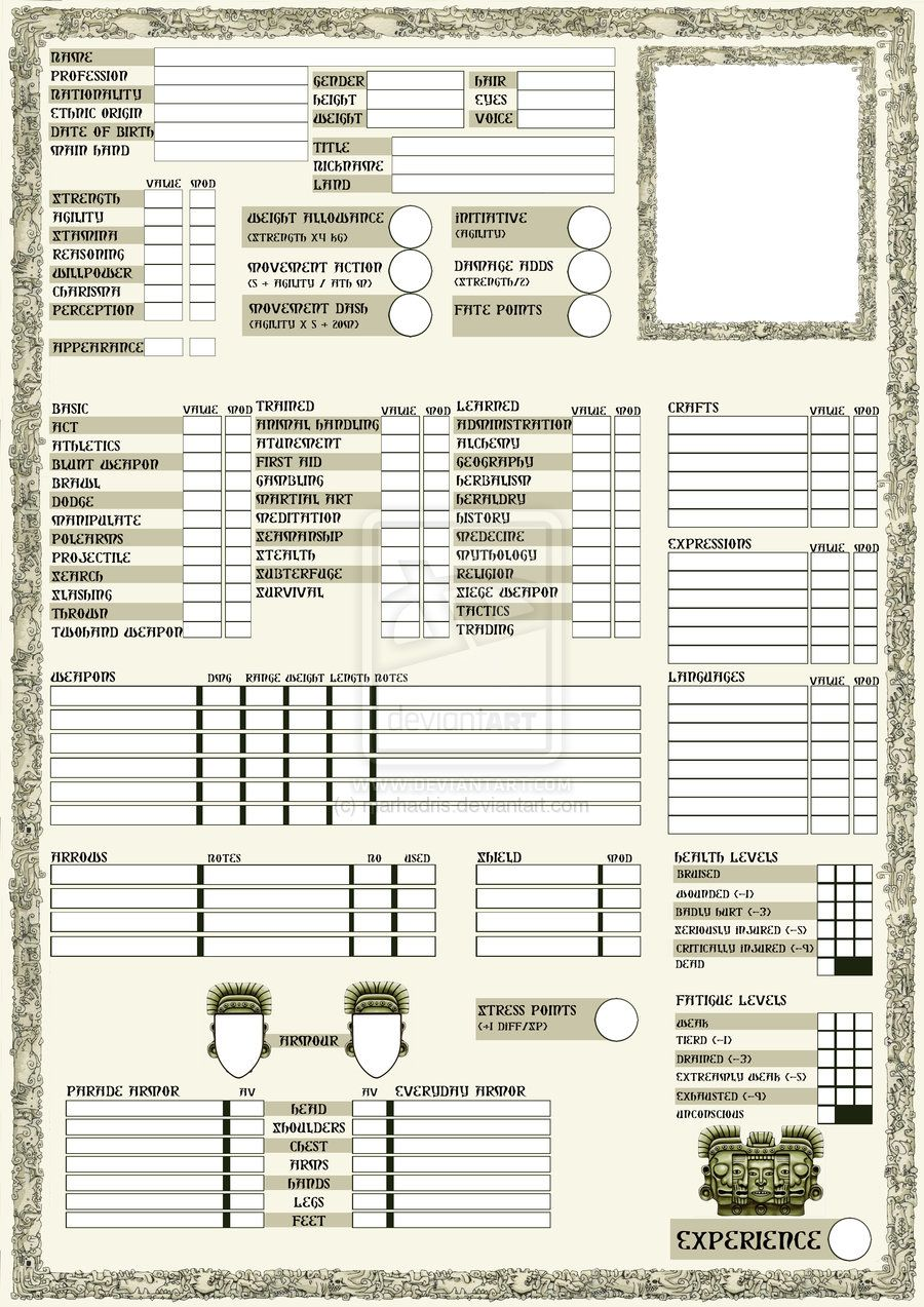 rpg sheets | Rpg character sheet page 1 by marhadris | D&D 5E ...