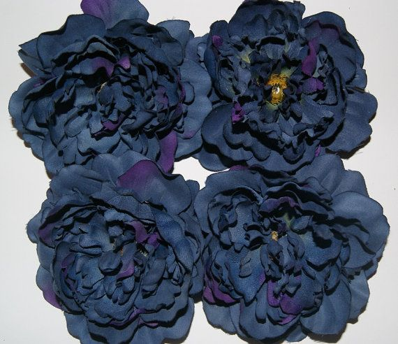 Set of 4 navy blue and purple peony silk flower heads artificial set of 4 navy blue and purple peony silk flower heads artificial flowers mightylinksfo Images